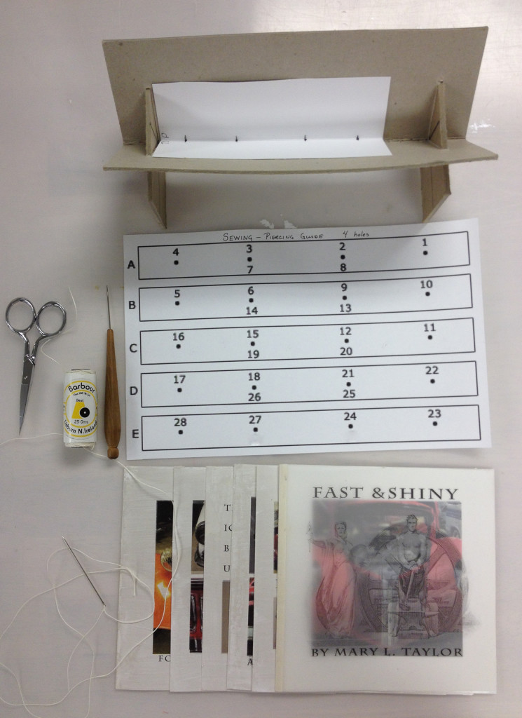 Piercing the folios and setting up to sew them together as signatures.